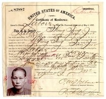United States of America Certificate of Residence for Hong Sing
