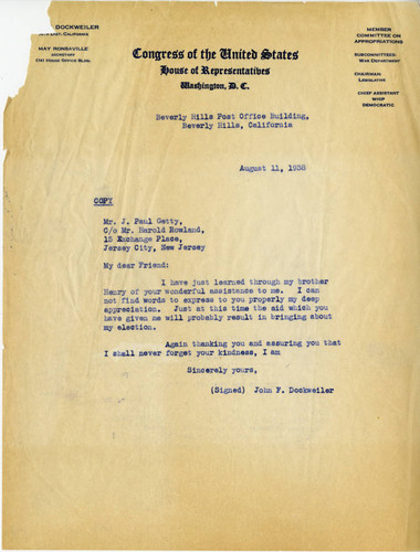 [Copy of John F. Dockweiler letter to J. Paul Getty, 11 August, 1938]