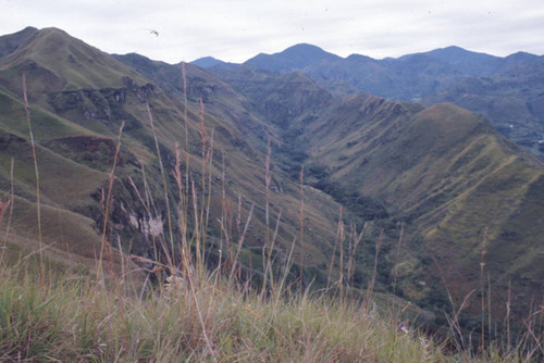 A panoramic view of the mountains, Tierradentro, Colombia, 1975