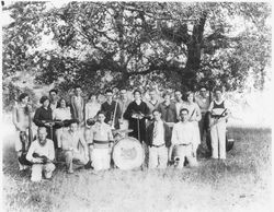 Analy Union High School yearbook (Azalea) photo of the Analy orchestra in 1928, photographed outside the school by a large tree