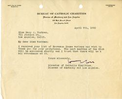 Fr. W.E. Corr letter to Mary J. Workman, Apr 9, 1920