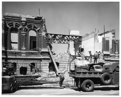 Calisphere View of Workers Demolishing the Old San Jose City Hall