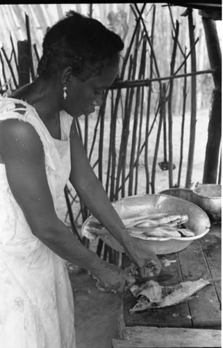 Women Clean With A Knife Fresh Fish On The Shore. Fish