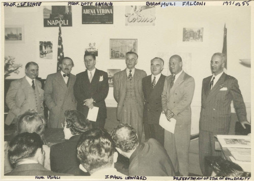 Frank V. de Bellis with J. Paul Leonard, San Francisco Consul General Baron Filippo Muzi-Falcon, and professors from San Francisco State College at presentation ceremony for the Star of Solidarity