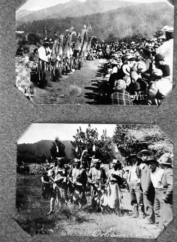 Two images from a Hupa White Deer Dance