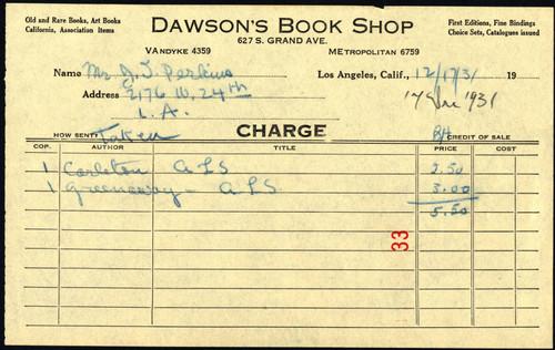 calisphere dawson s book shop receipt