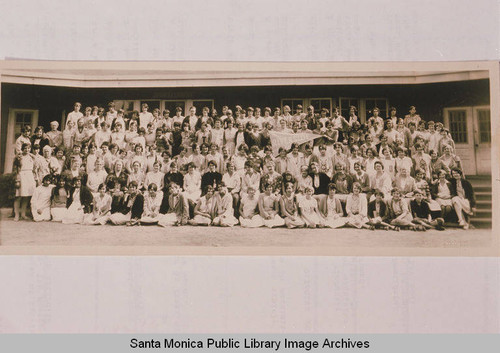 Group portrait in front of the dining hall at Institute Camp, Temescal Canyon, Pacific Palisades, Calif