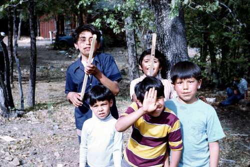 Group of unidentified boys at the Greenville Bear Dance--1972