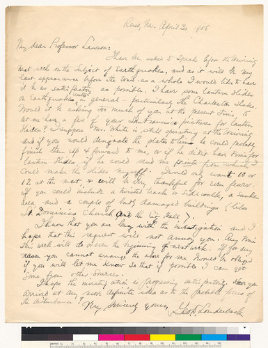 Letter to A.C. Lawson from George D. Louderback: April 30, 1906