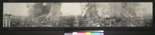 The Burning City--San Francisco. 10 a.m. April 18, 1906. [View east from Mark Hopkins Institute of Art, Nob Hill. Dimensions (23 x 137 cm.) are of visible image only.]
