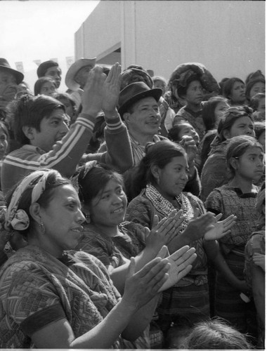 Mayan people cheering at a campaign rally, Guatemala City, 1982