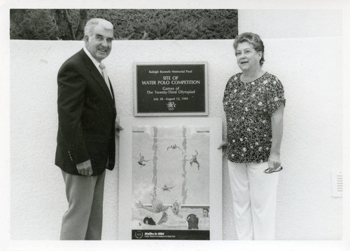 Judge Merrick commemorating the Raleigh Runnels Memorial Pool for Olympic water polo, 1984