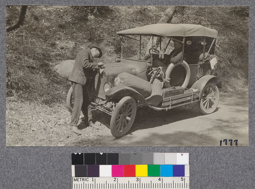 Letting Lizzie cool off a bit on one steep grade between Garberville and Andersonia, Humboldt County, August 1921