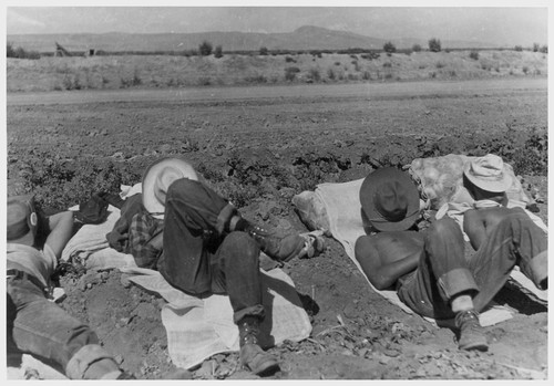 10:30 A.M. Farm workers' siesta.--Photographer: Cook, John D.--Newell, California