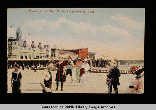 Santa Monica Municipal Pier, Loof Pier, merry-go-round, bowling and billiards pavilion, and visitors to North Beach