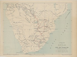 Route followed by Mr and Mrs Coillard from the land of the Bassoutos to Bonyai and Zambezi regions