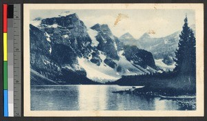 River flowing beneath a steep mountainside, Canada, ca.1920-1940