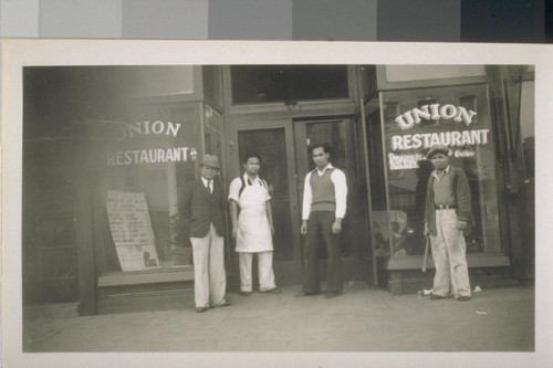 Snapshots of Filipinos in front of buildings: In front of Union Restaurant, 1206 3rd Street, Sacramento