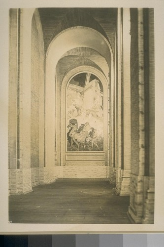 "[H354? ""The Windmill,"" panel of mural ""Air"" (Frank Brangwyn, painter), colonnade, Court of Abundance.]"