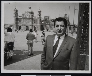Ruben Salazar in Zocalo, the Plaza de la Constitucion (Constitution Square) in Mexico City, ca. 1967