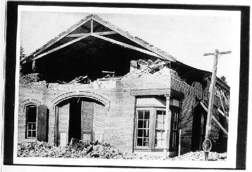 Tunstall's Livery Stable after the earthquake