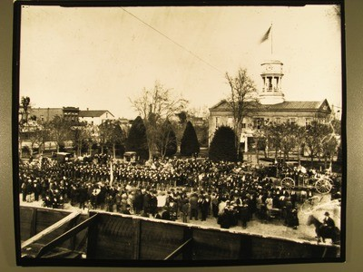Stockton - Centennial Celebration: Emmett Guard on Parade, Courthouse on left
