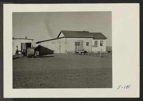 A typical house provided for volunteer beet workers of Japanese ancestry at Colorado beet farms near Keensburg, Colorado. Photographer: Parker, Tom Keensburg, Colorado
