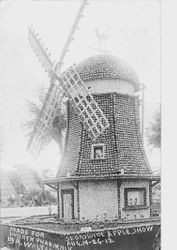 1912 Gravenstein Apple Show display with windmill made of apples