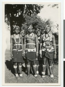 Five African girls in traditional dresses, South Africa