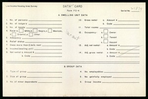 WPA Low income housing area survey data card 124, serial 21839, vacant
