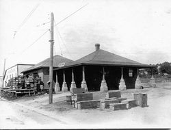 Graton P&SR Railway depot in Graton, California, about 1905