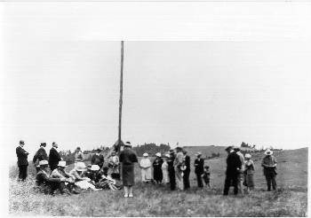 Native Sons of the Golden West dedicating a flag pole at Bodega Bay