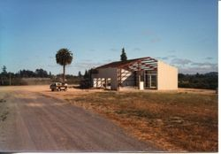 Construction of the Hallberg Fruit stand and bakery on Highway 116, Gravenstein Highway North, September, 1982