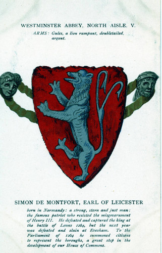 Postcard, Westminster Abbey, North Aisle, V, Arms, Simon de Montfort, Earl of Leicester