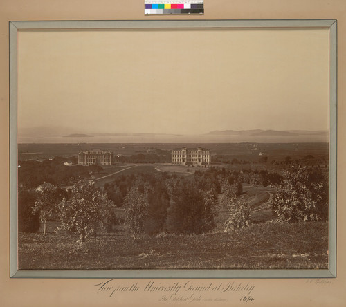 View from the university ground [sic] at Berkeley: the Golden Gate (in the distance)