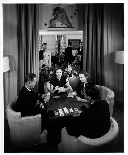 "PRESIDENT MONROE (Second)? ""86626 11/30/46"" Lounge; card game in foreground"