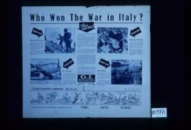 Who won the war in Italy? They all did! ... Ground forces ... Air forces ... the Navy ... Service Forces ... Mediterranean campaigns ... What they did. A discussion group on the Mediterranean campaigns will be held