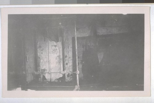 July, 1936 Kern County, Kern Lake District. This is probably on the Frick Property, inside view of a laborer shanty. Note filthy walls and no windows provided