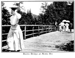 Rustic bridge at Monte Rio, from postcard booklet of Monte Rio on the Russian River, California, about 1900s