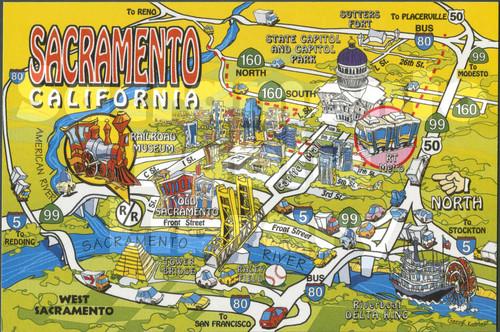 California Map Cartoon.Calisphere Sacramento California Cartoon Map