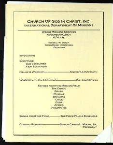 Annual Holy Convocation of the Church of God in Christ (94th: 2001), World missions services program (copy 2)