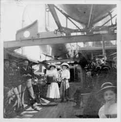 "Sisters Hazel and Cora Miller on board the ""Marblehead"""