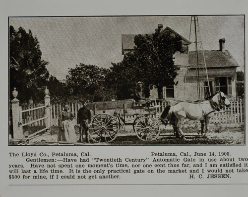 Lloyd gate at the farm of H. C. Jessen in Petaluma, California, as shown in the Lloyd Co. catalog for 1912