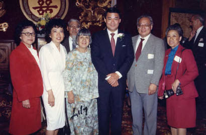 At Mirawa Restaurant in Los Angeles, Ronald Lew in the center and Lily Chan to the left of him