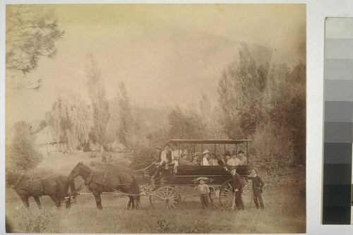 [Unidentified party in horse coach.]