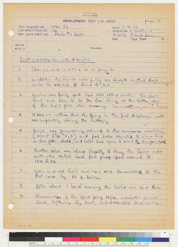 Development Test Log Sheet, page 10, 1953