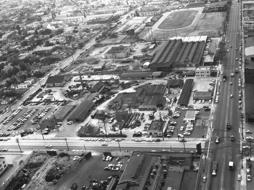 Slauson Avenue, State Street and Belgrave Avenue, Huntington Park, looking southwest