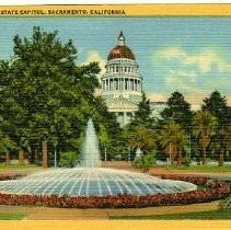 Exterior view of the California State Capitol and park looking at the western entrance
