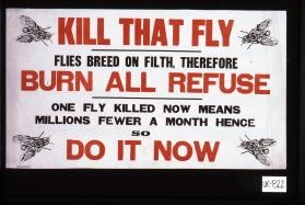 Kill that fly. Flies breed on filth, therefore burn all refuse. One fly killed now means millions fewer a month hence so do it now