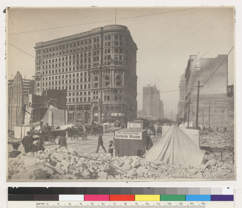 Restaurant and Buttermilk Stands. [Food vending carts, wagons, streetcars, tents and rubble along Market Street. From Fifth St. Flood Building at Powell St., left center.]